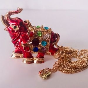 NEW! CRYSTAL ENAMEL RED ELEPHANT SWEATER NECKLACE